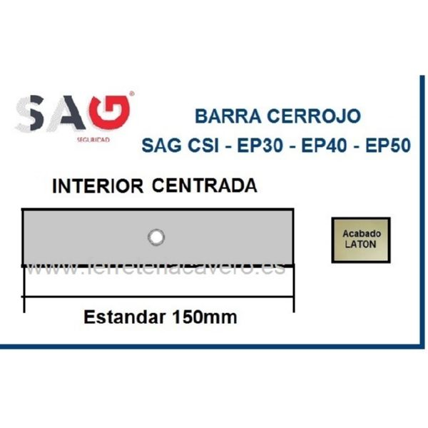 BARRA CERROJO SAG CSI CROMO 150mm ESTANDAR