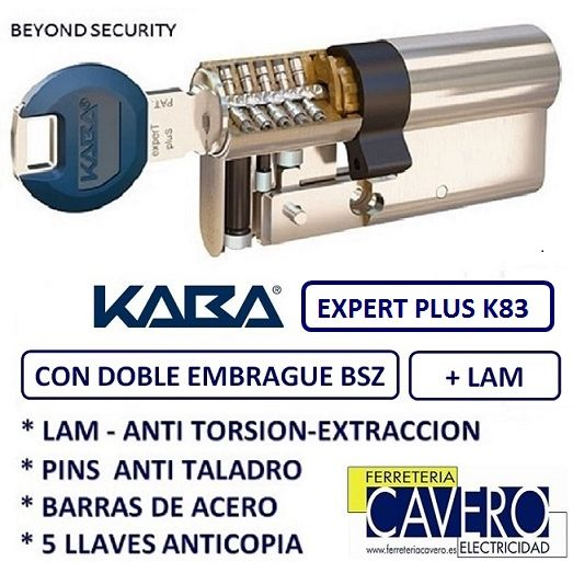 CILINDRO 30+30 60mm KABA EXPERT PLUS LAM DOBLE EMBRAGUE LATON