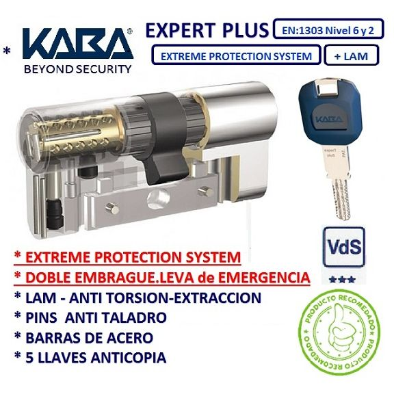 CILINDRO 30+30 60mm KABA EXTREME EXPERT PLUS D/E +LAM CROMO
