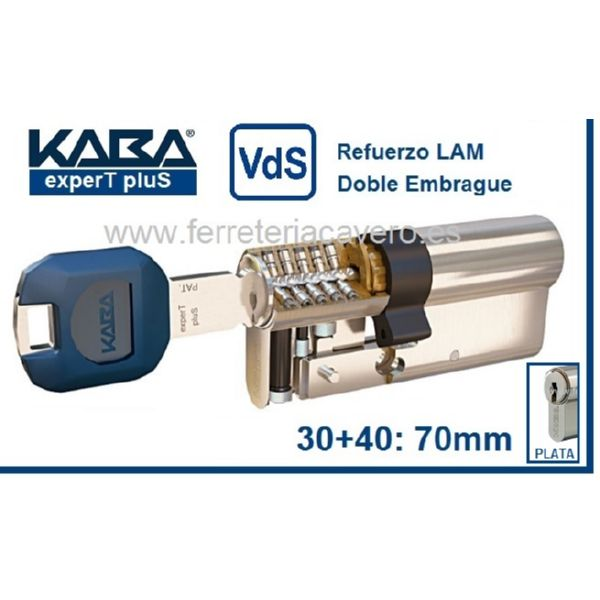 Cilindro 30+40 70mm KABA ExperT Plus Lam doble Embrague Cromo