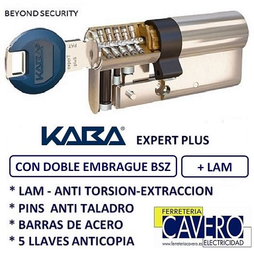 CILINDRO 35+35 70mm KABA EXPERT PLUS LAM DOBLE EMBRAGUE CROMO