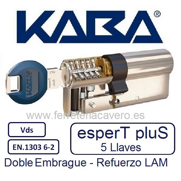CILINDRO 35+35 70mm KABA EXPERT PLUS LAM DOBLE EMBRAGUE LATON