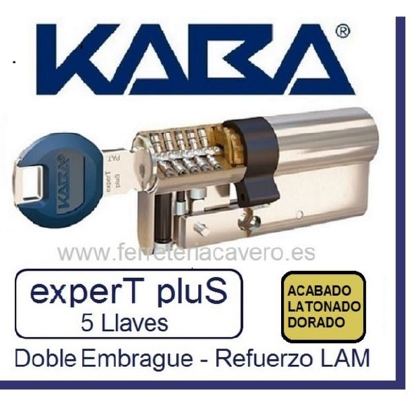 Cilindro 35+35 70mm KABA ExperT Plus Lam doble Embrague Latón