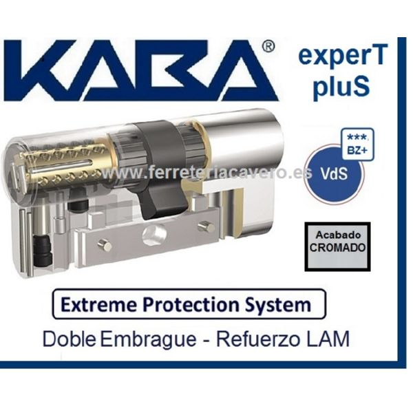 CILINDRO 40+40 80mm KABA EXTREME EXPERT PLUS D/E +LAM CROMO