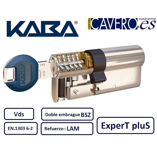 CILINDRO 45+45 90mm KABA EXPERT PLUS LAM DOBLE EMBRAGUE CROMO