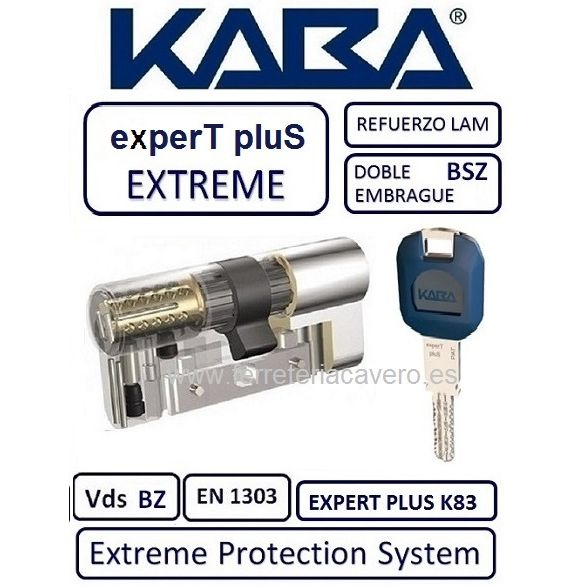 CILINDRO 45+45 90mm KABA EXTREME EXPERT PLUS D/E +LAM CROMO