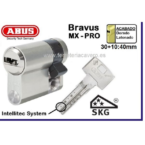 Cilindro ABUS Bravus MX Pro 30+10 40mm LATON LEVA LARGA 15mm