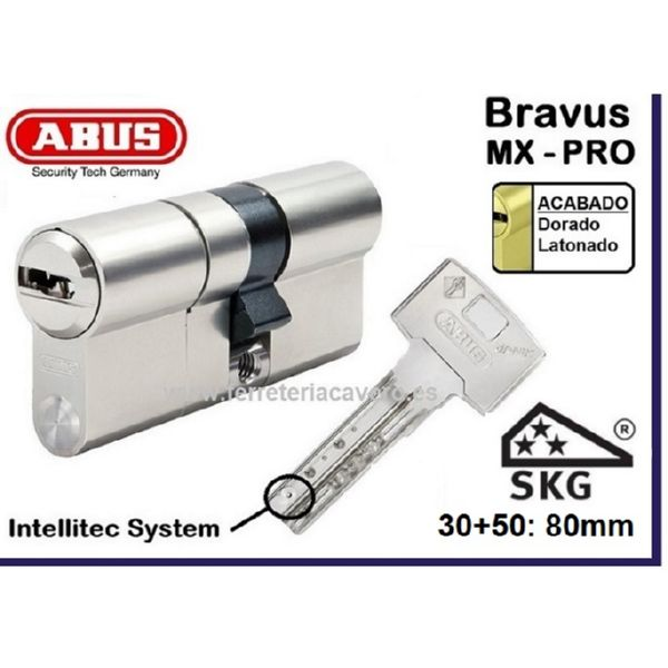 Cilindro ABUS Bravus MX Pro 30+50: 80mm Latón doble embrague