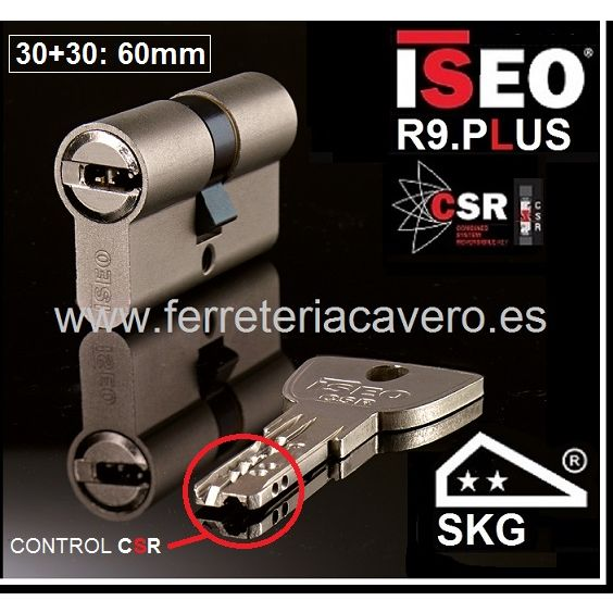 Cilindro ISEO R9 Plus 30+30:60mm Cromo doble Embrague