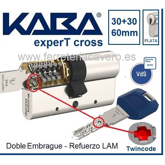 CILINDRO KABA 30+30 60mm experT CROSS LAM Doble Embrague Cromo