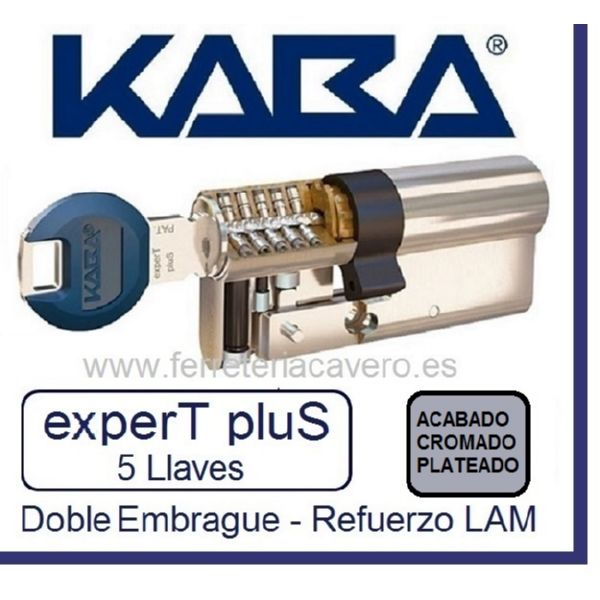 CILINDRO KABA 30+30 60mm EXPERT PLUS LAM DOBLE EMBRAGUE CROMO