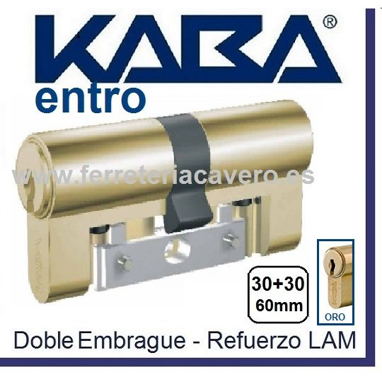 CILINDRO KABA ENTRO 30+30 60mm LATON LAM DOB.EMBRAGUE