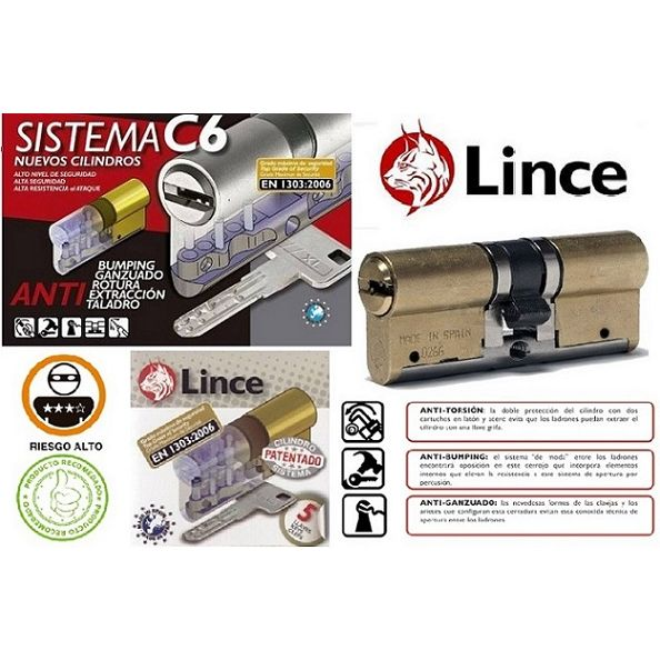 CILINDRO LINCE C6 30X30 Latón 5 llaves Doble Embrague 9C653030LD