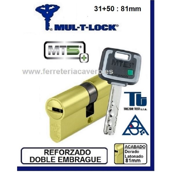 Cilindro MT5+ 31+50 81mm MULTLOCK Latón Reforzado-doble Embrague