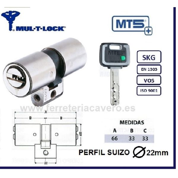 CILINDRO MT5+ 33+33:66mm MULTLOCK SUIZO 22mm CROMO EMBRAGUE
