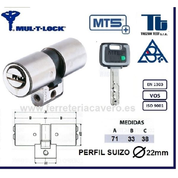 CILINDRO MT5+ 33+38:71mm MULTLOCK Suizo 22mm Cromado Doble Embrague
