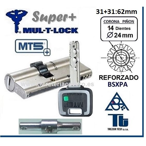 CILINDRO MT5+ SUPER Plus MULTLOCK 31+31 62mm 14 DIENTES Cromo