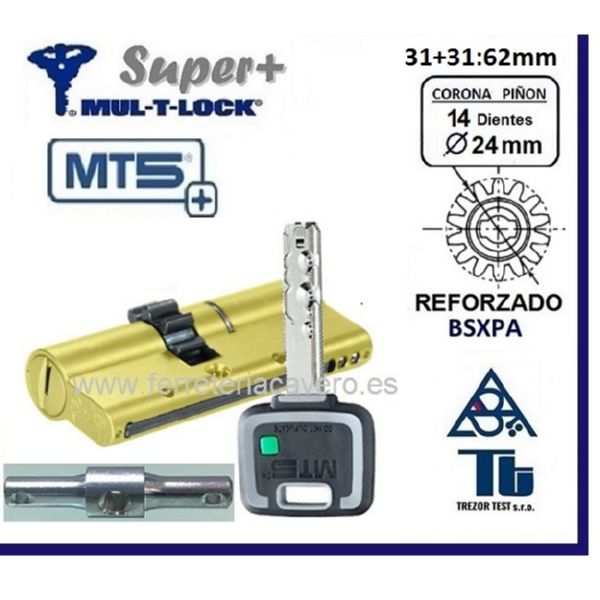 CILINDRO MT5+ SUPER Plus MULTLOCK 31+31 62mm 14 DIENTES ORO