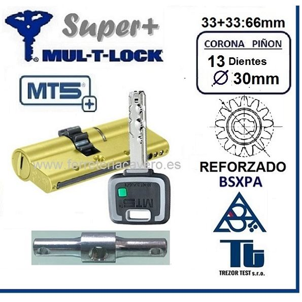 CILINDRO MT5+ SUPER Plus MULTLOCK 33+33 66mm 13 DIENTES Cromo