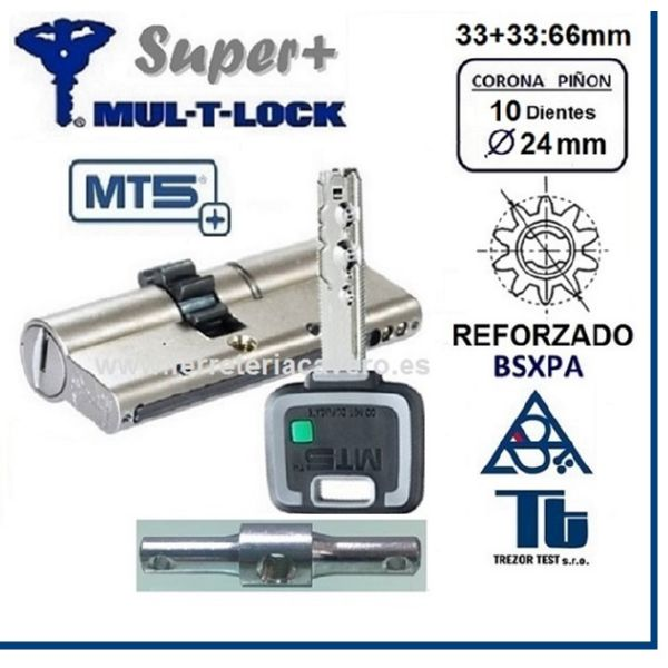 CILINDRO MULTLOCK MT5+ SUPER Plus 33+33 66mm 10 DIENTES Cromo D/E