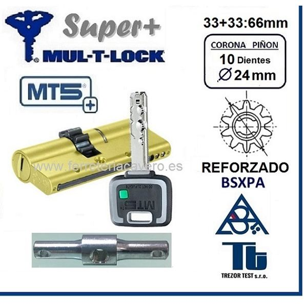 CILINDRO MULTLOCK MT5+ SUPER Plus 33+33 66mm 10 DIENTES Latón D/E