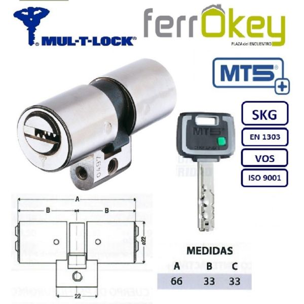 CILINDRO MULTLOCK PERFIL SUIZO MT5+ 33+33 66mm LATON